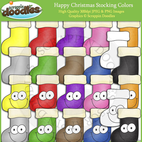 Happy Christmas Stocking Colors Clip Art