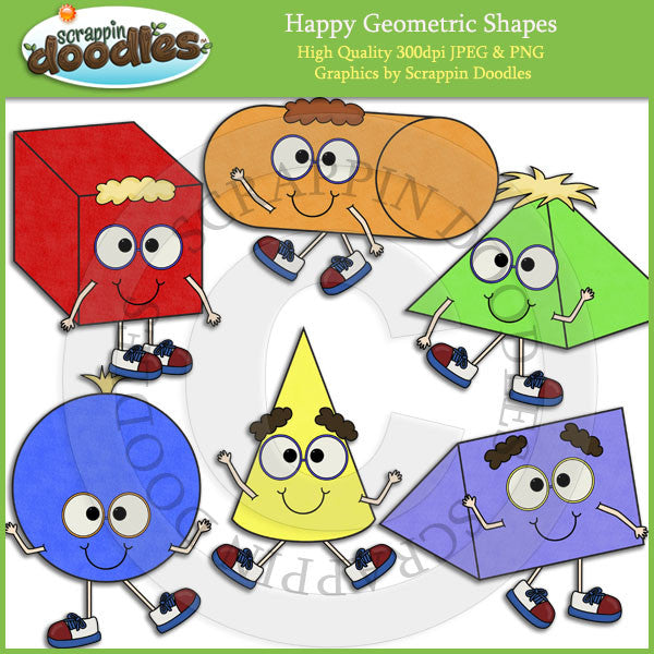 Happy Geometric Shapes Clip Art