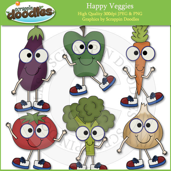 Happy Veggies Clip Art Download