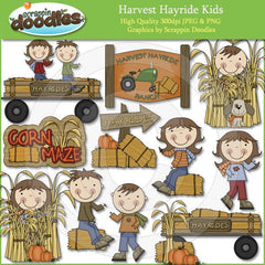 Harvest Hayride Kids Clip Art Download