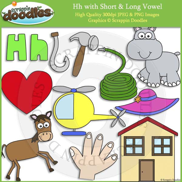 Hh Short and Long Vowel Clip Art and Line Art