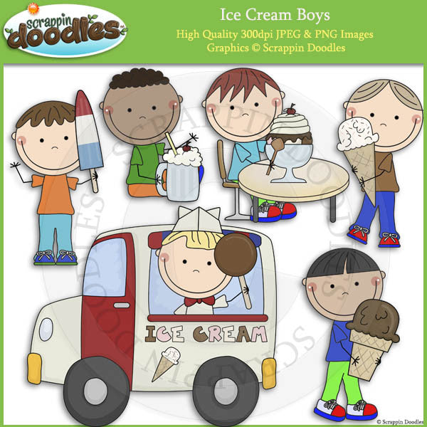 Ice Cream Boys Clip Art