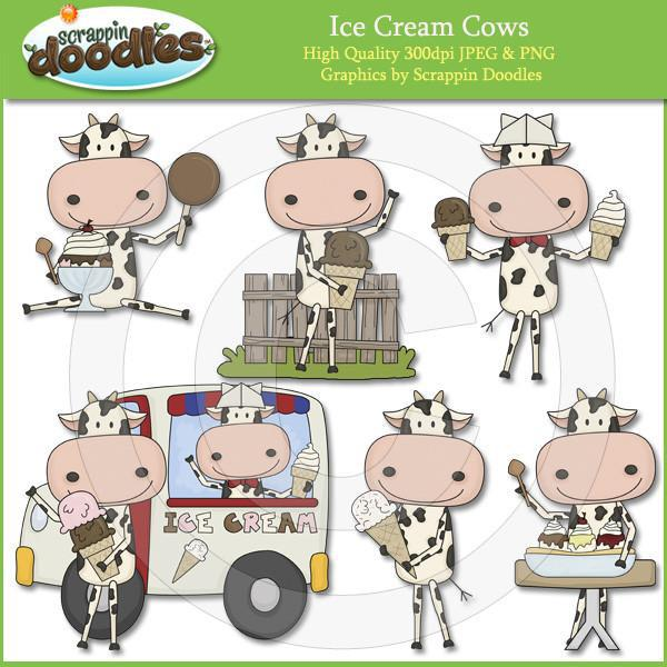 Ice Cream Cows Clip Art Download