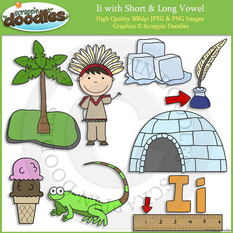 Ii Short and Long Vowel Clip Art and Line Art