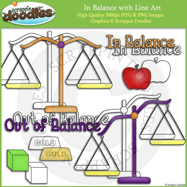In Balance Clip Art & Line Art - Free WITH ANY ORDER