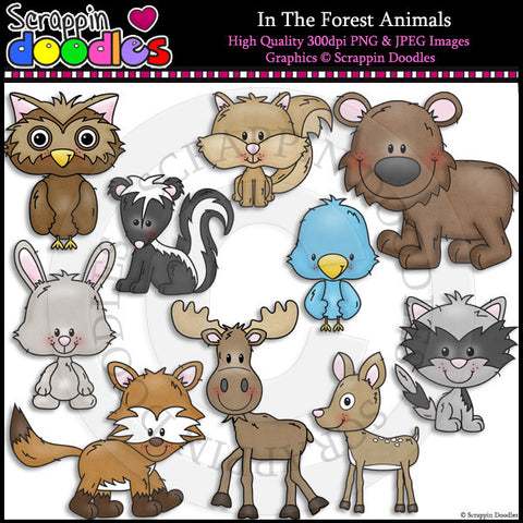 In The Forest Animals Clip Art & Line Art