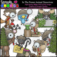 In The Forest Animals Detectives Clip Art & Line Art