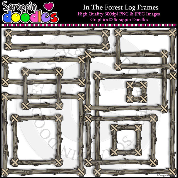 In The Forest Log Frames Clip Art & Line Art