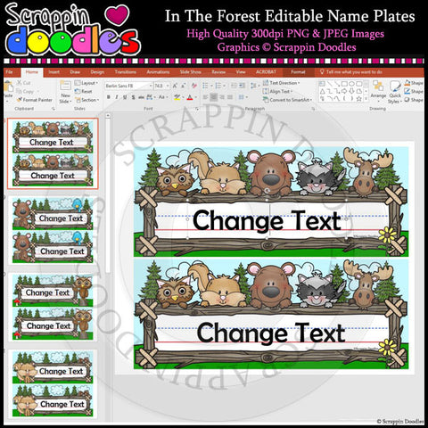 In The Forest Editable Desk Name Plates
