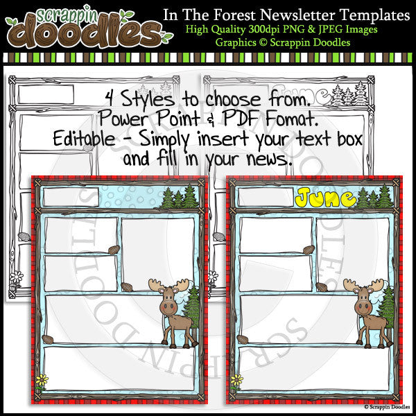 In The Forest 8 1/2 x 11 Newsletter Templates Color & Line Art