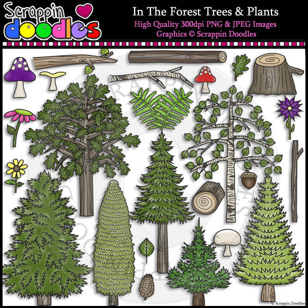 In The Forest Trees & Plants Clip Art & Line Art