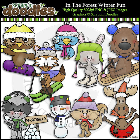 In The Forest Winter Fun Clip Art