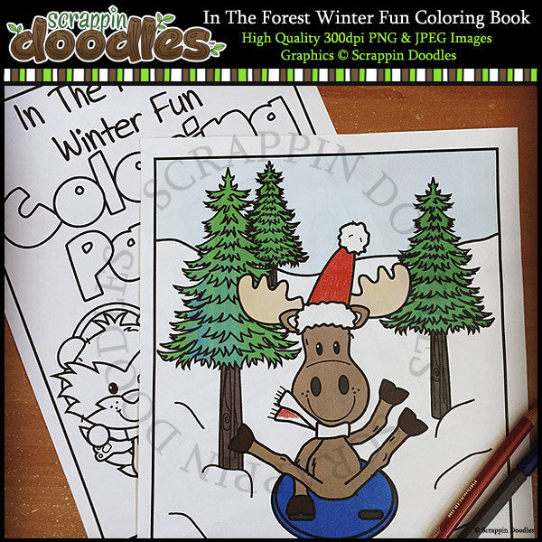 In The Forest Winter Fun Coloring Pages