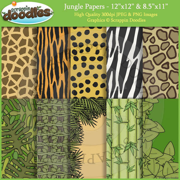 "Jungle 12""x12"" & 8.5""x11"" Backgrounds Download"