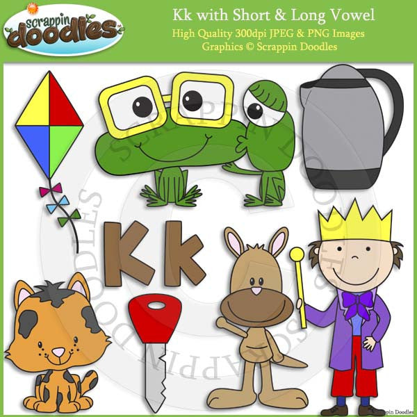 Kk Short and Long Vowel Clip Art and Line Art