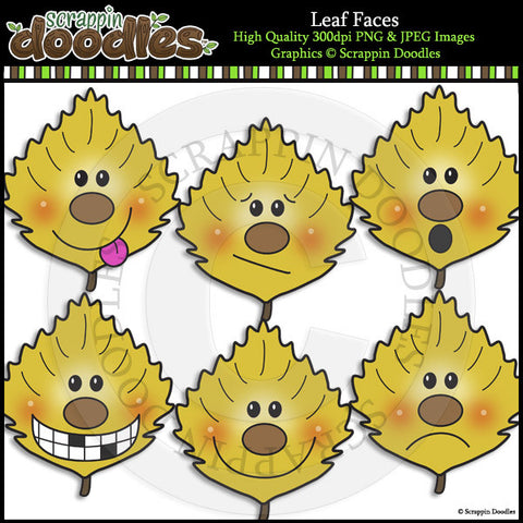 Leaf Faces Clip Art & Line Art
