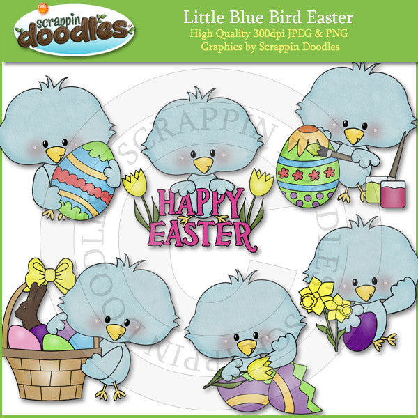Little Blue Bird Easter Clip Art Download