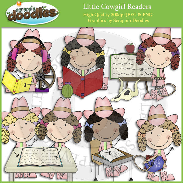 Little Cowgirl Readers Clip Art Download