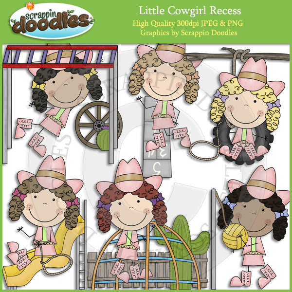 Little Cowgirl Recess Clip Art Download