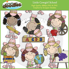 Little Cowgirl School Clip Art Download