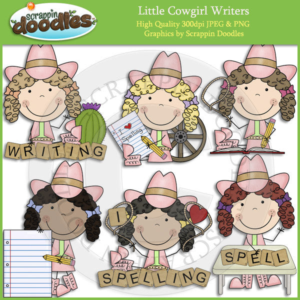 Little Cowgirl Writers Clip Art Download