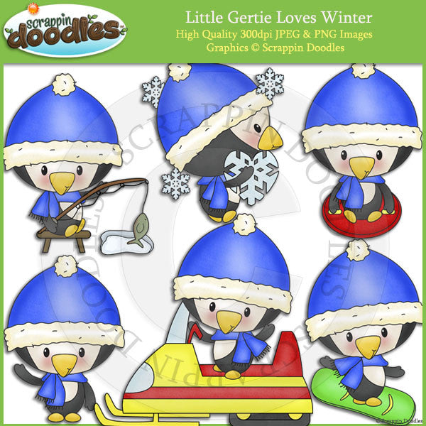 Little Gertie Loves Winter Clip Art