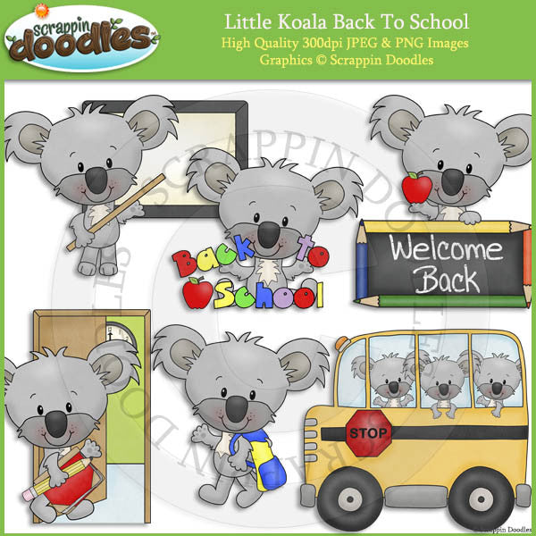 Little Koala Back To School Clip Art