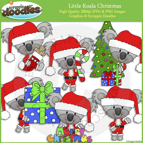 Little Koala Christmas Clip Art