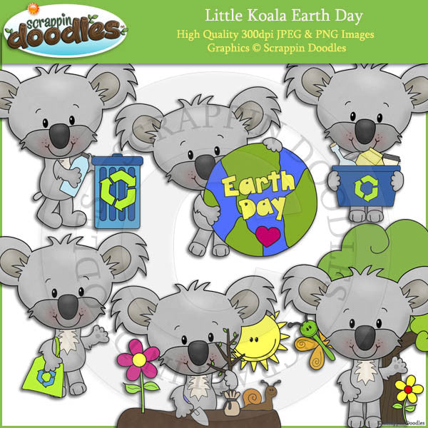 Little Koala Earth Day Clip Art