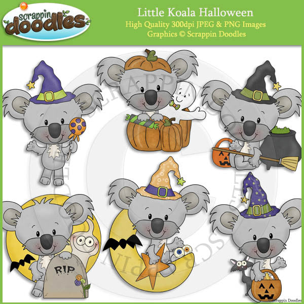 Little Koala Halloween Clip Art