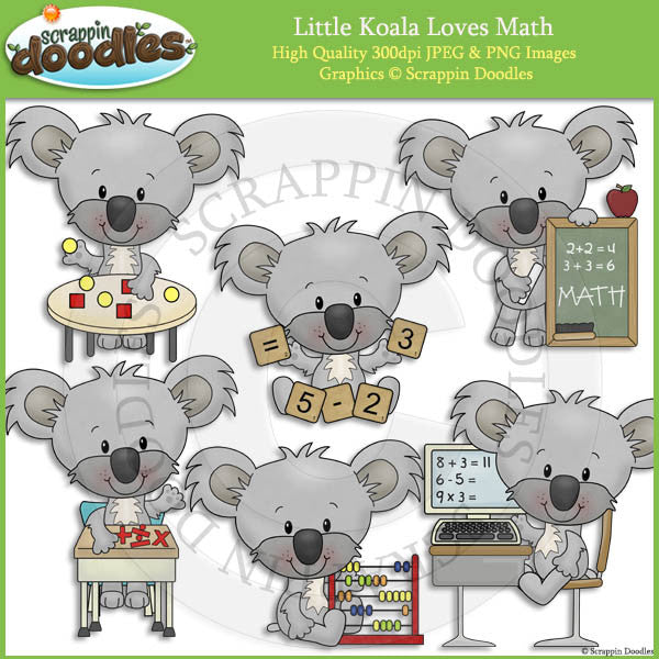 Little Koala Loves Math Clip Art