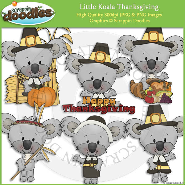 Little Koala Thanksgiving Clip Art