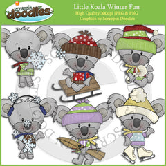 Little Koala Winter Fun Clip Art Download