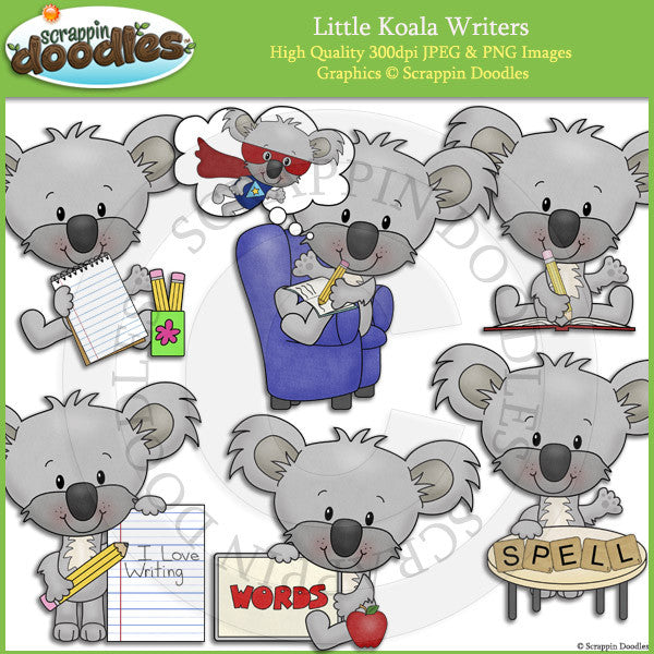 Little Koala Writers Clip Art
