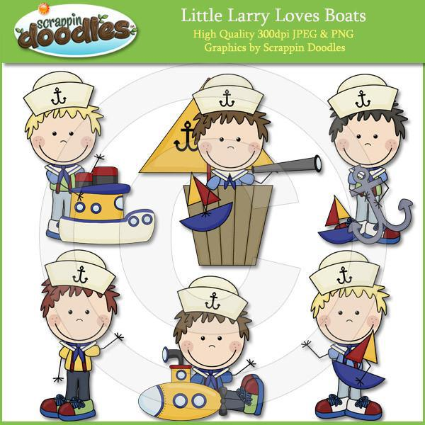 Little Larry Loves Boats Clip Art Download