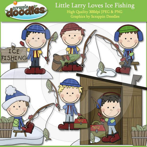 Little Larry Loves Ice Fishing Clip Art Download