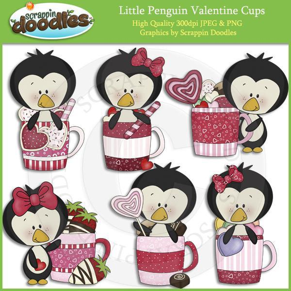 Little Penguin Valentine Cups Download