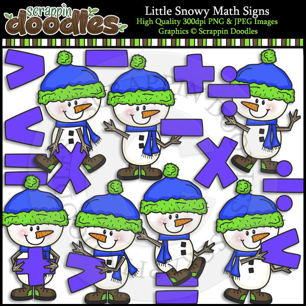 Little Snowy Math Signs Clip Art & Line Art