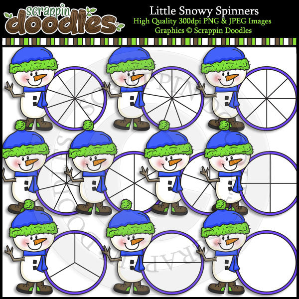 Little Snowy Spinners Clip Art & Line Art
