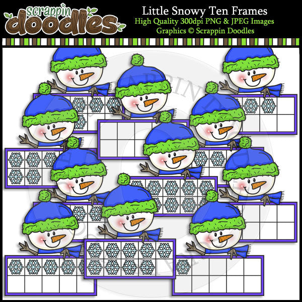 Little Snowy Ten Frames Clip Art & Line Art
