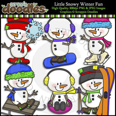 Little Snowy Winter Fun Clip Art & Line Art