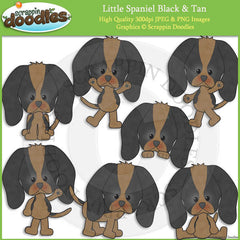 Little Spaniel Black & Tan Clip Art