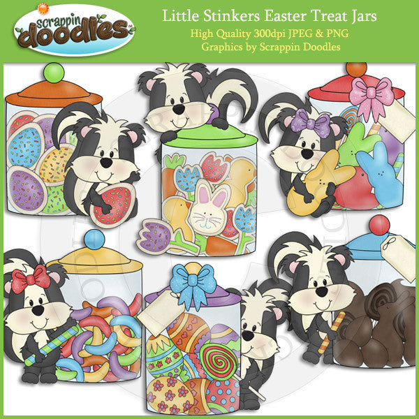 Little Stinkers Easter Treat Jars Clip Art Download