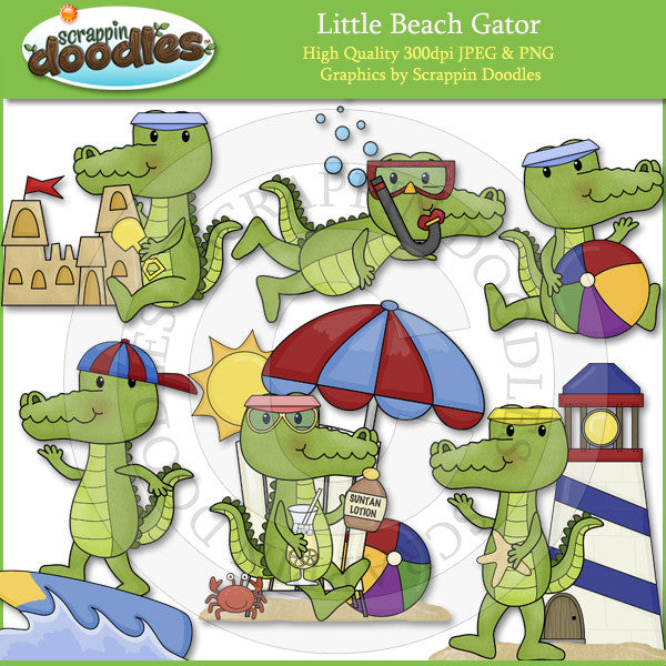 Little Beach Gator Clip Art Download