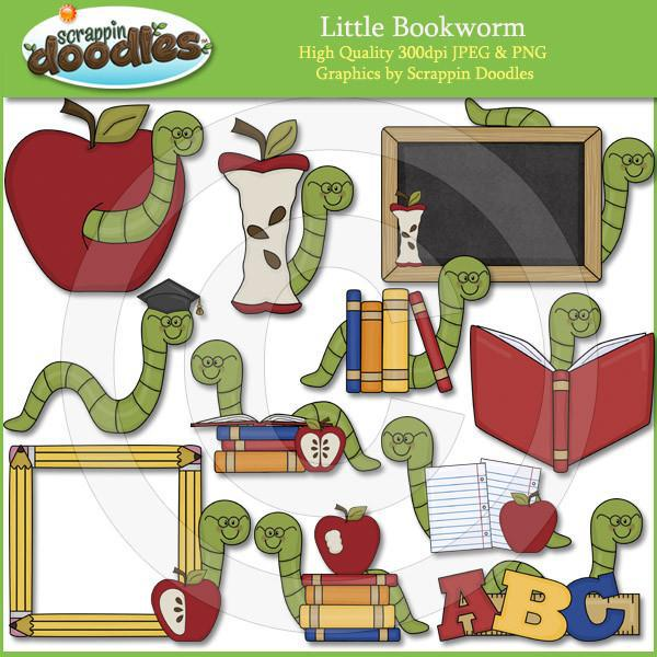 Little Book Worm Clip Art Download