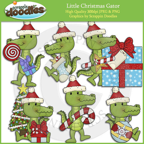 Little Christmas Gator Clip Art Download