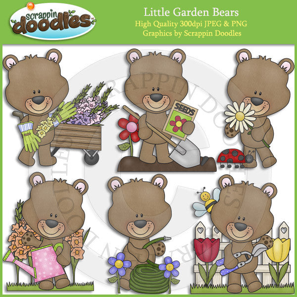 Little Garden Bears Clip Art Download