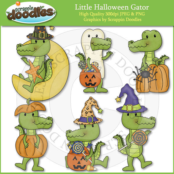 Little Halloween Gators Clip Art Download