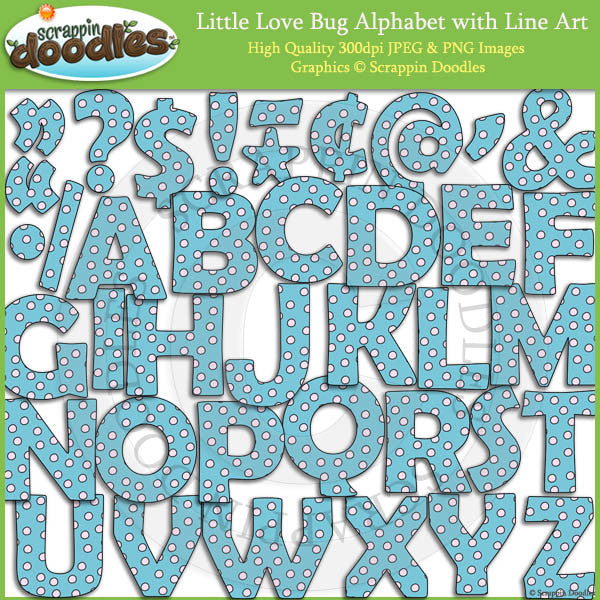 Little Love Bug Alphabet Clip Art with Line Art