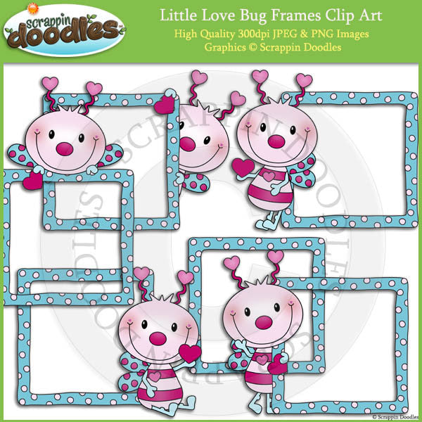 Little Love Bug Frames Clip Art